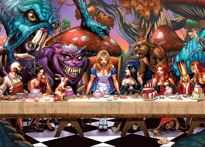 Grimm Fairy Tales Greeting Card featuring the drawing Alice In Wonderland 06a by Zenescope Entertainment