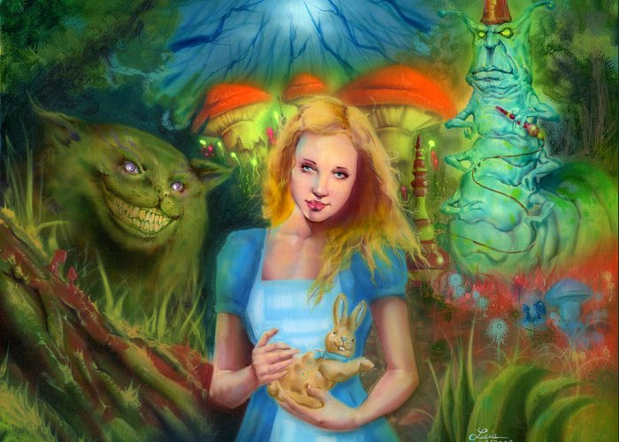 Fantasy Greeting Card featuring the painting Alice by Luis Navarro