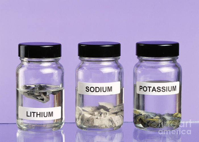 Alkali Metal Greeting Card featuring the photograph Alkali Metals In Jars by Martyn F. Chillmaid