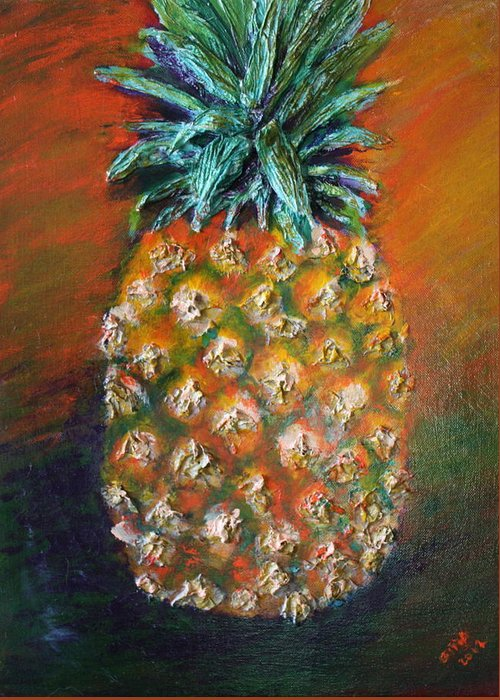 Pineapple Greeting Card featuring the painting Aloha by Gitta Brewster
