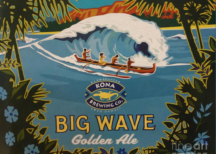 Big Wave Greeting Card featuring the digital art Aloha Series 2 by Cheryl Young