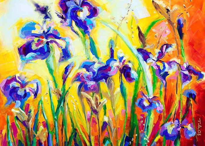 Irises Greeting Card featuring the painting Alpha And Omega by Talya Johnson