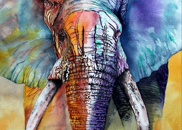Elephant Greeting Card featuring the painting Alpha by Maria Barry