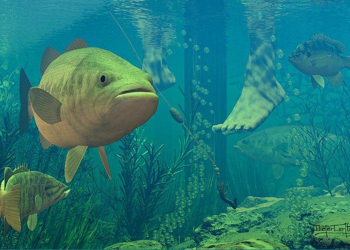 Underwater Greeting Card featuring the digital art Alternate Perspective by Dieter Carlton
