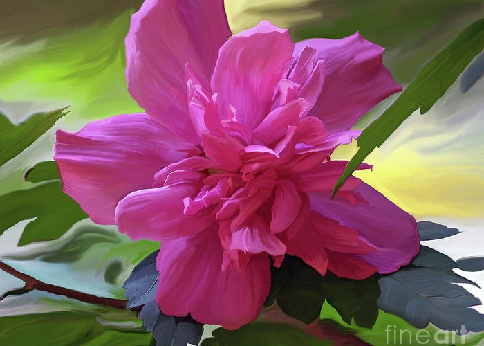 Hibiscus Greeting Card featuring the painting Althea Hibiscus I by Patricia Griffin Brett