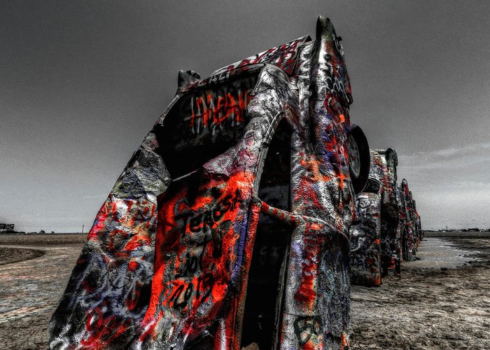 Amarillo Texas Greeting Card featuring the photograph Amarillo - Cadillac Ranch 005 by Lance Vaughn