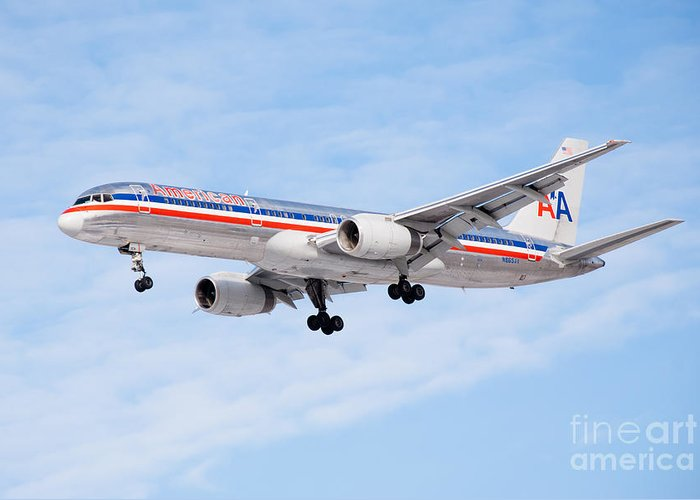 757 Greeting Card featuring the photograph Amercian Airlines Boeing 757 Airplane Landing by Paul Velgos