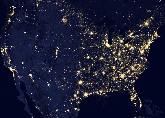 3scape Photos Greeting Card featuring the photograph America At Night by Adam Romanowicz