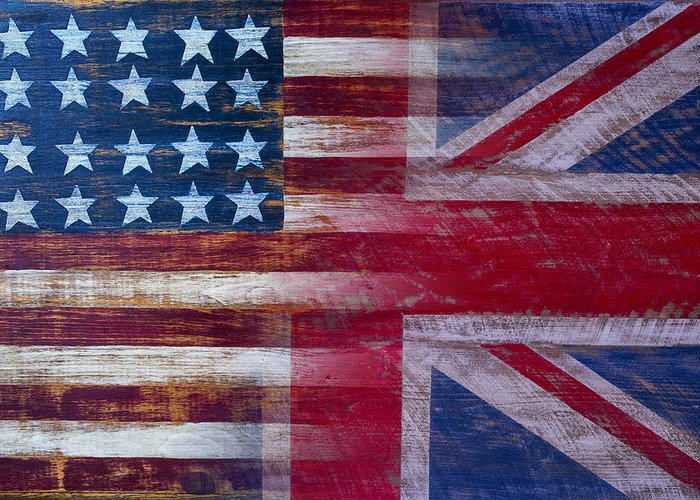 American Greeting Card featuring the photograph American British Flag by Garry Gay