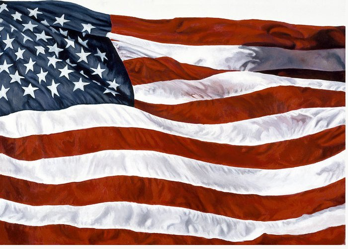 John Greeting Card featuring the painting American Flag by John Zaccheo