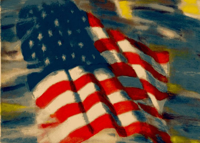 America Greeting Card featuring the pastel American Flag by Patrick McClellan