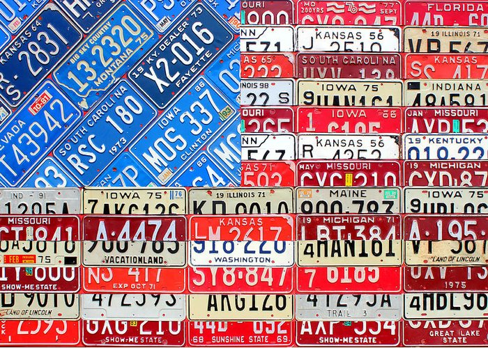 American Flag Recycled License Plate Art Iowa Michigan Kansas Nevada Montana South Carolina Kentucky Missouri Florida Tennessee Illinois Indiana Maine Ohio Washington Usa Patriotic Patriot America Greeting Card featuring the mixed media American Flag Recycled License Plate Art by Design Turnpike