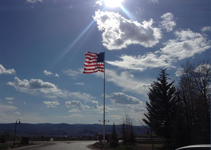 American Flag Greeting Card featuring the photograph American Flag Waving In The Sunrays by Shawn Hughes