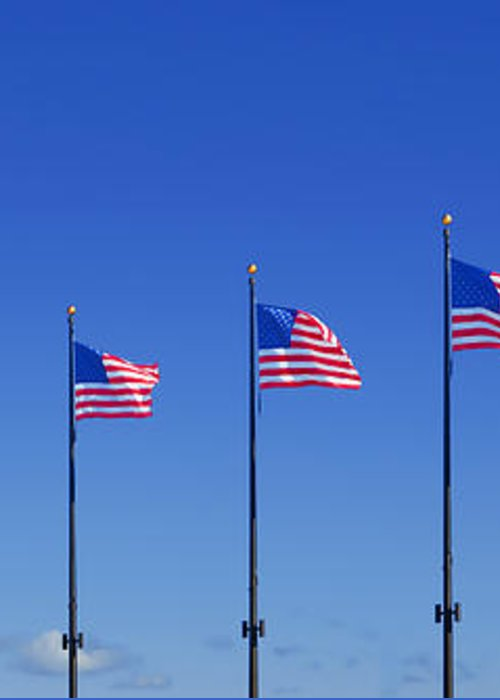 American Greeting Card featuring the photograph American Flags On Chicago's Famous Navy Pier by Christine Till