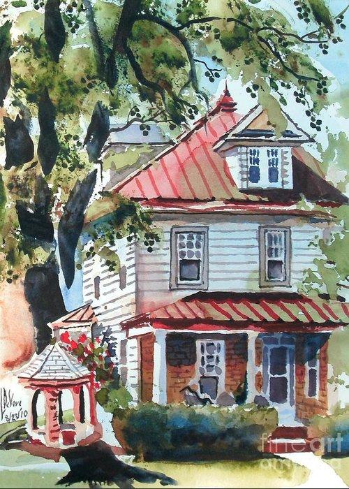 American Home With Children's Gazebo Greeting Card featuring the painting American Home With Children's Gazebo by Kip DeVore
