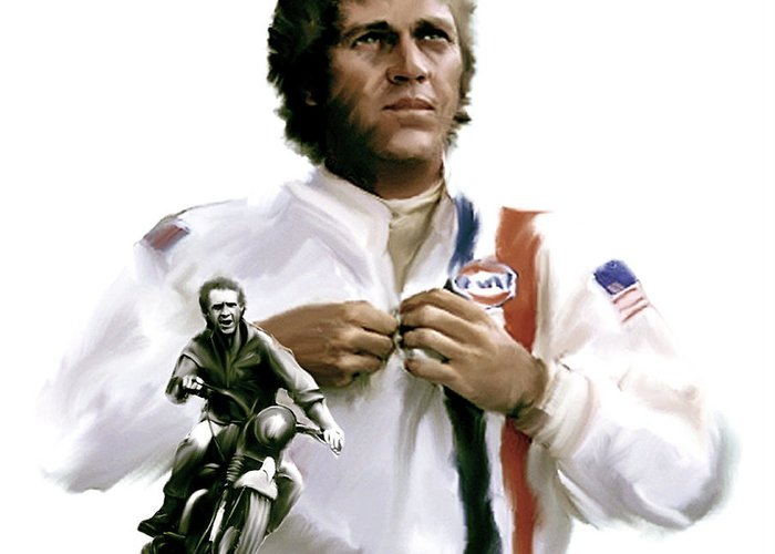 Steve Mcqueen Greeting Card featuring the painting American Icon Steve Mcqueen by Iconic Images Art Gallery David Pucciarelli