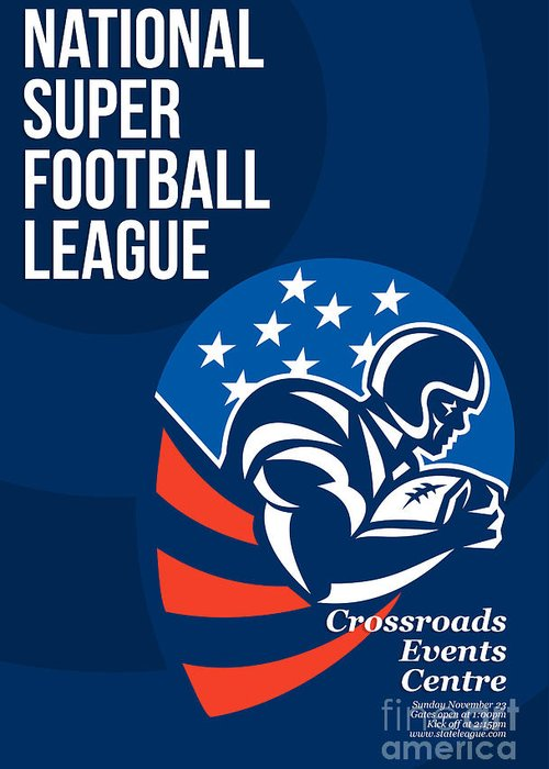 American Football Greeting Card featuring the digital art American National Super Football League Poster by Aloysius Patrimonio