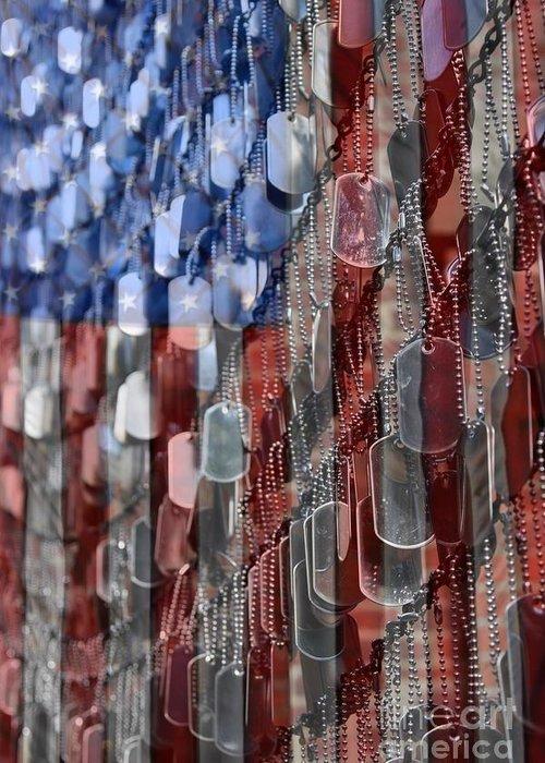 Patriotic Greeting Card featuring the photograph American Sacrifice by DJ Florek