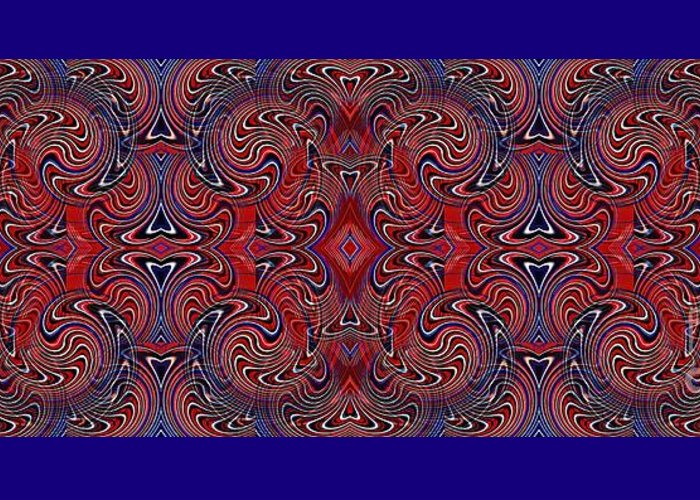 Americana Swirl Banner 1 Greeting Card featuring the digital art Americana Swirl Banner 1 by Sarah Loft
