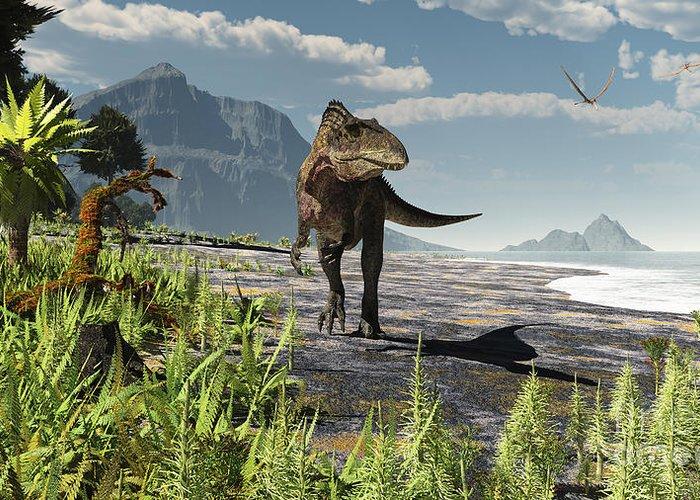 An Acrocanthosaurus Roams An Early Greeting Card by Arthur Dorety