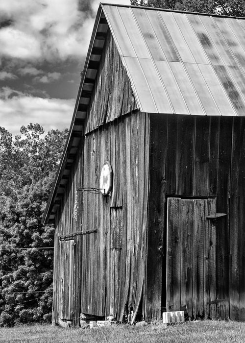 Landscape Greeting Card featuring the photograph An American Barn Bw by Steve Harrington