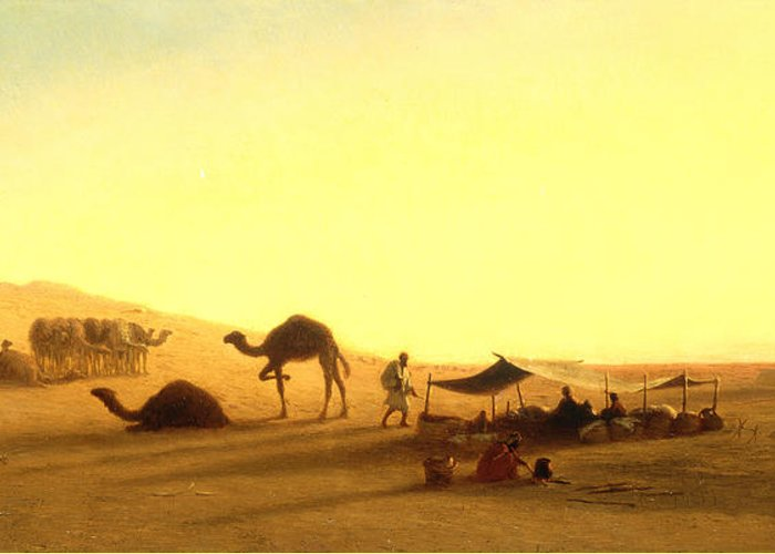 Arab; Encampment; Desert; Camp; Tent; Canopy; Camel; Camels; Dawn; Dusk; Morning; Evening; Sunrise; Sunset; Sundown; Golden; Glow; Nomad; Nomads; Nomadic; Traveller; Travellers; Travel; Camel; Train; Arab; Arabs; Arabian; Arid; Heat; Orientalist; Middle East; Middle Eastern; Sand; Dune; Dunes Greeting Card featuring the painting An Arab Encampment by Charles Theodore Frere