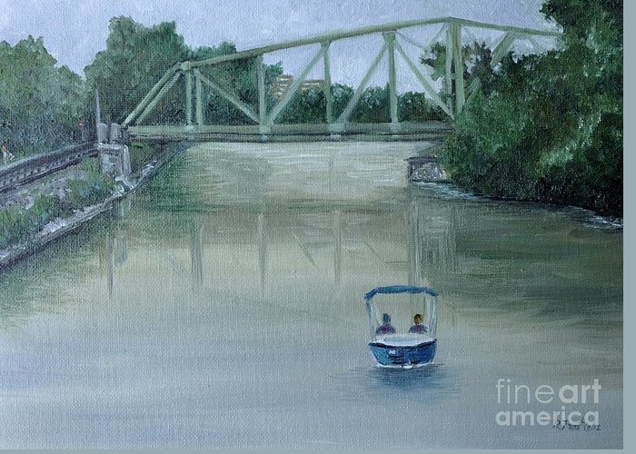 Lachine Canal Greeting Card featuring the painting An Evening Boat Ride On Lachine Canal by Reb Frost