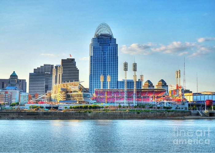 Cincinnati Greeting Card featuring the photograph An Evening Game by Mel Steinhauer