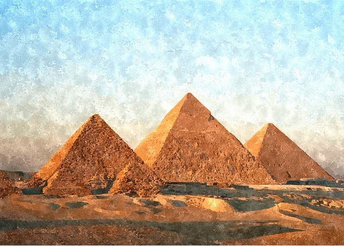 Ancient Greeting Card featuring the painting Ancient Egypt The Pyramids At Giza by Gianfranco Weiss
