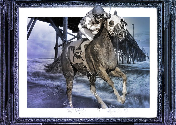 Horse Greeting Card featuring the digital art And Away We Go II by Betsy Knapp