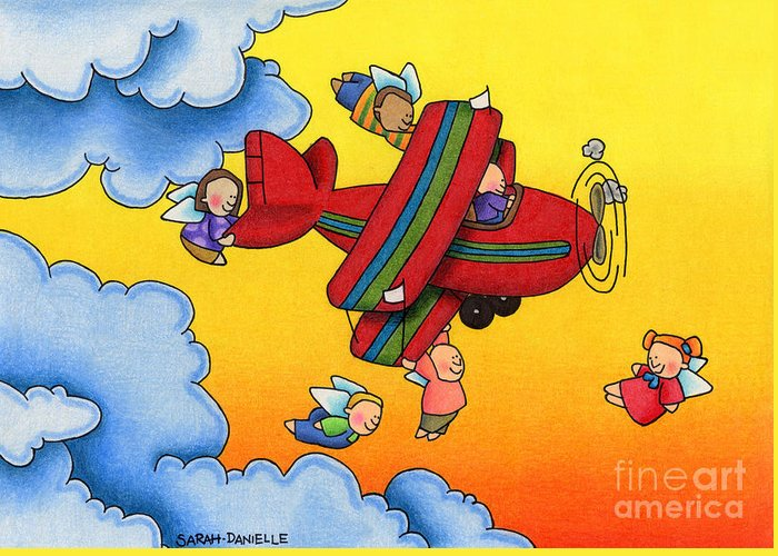 Angels Greeting Card featuring the drawing Angel Flight by Sarah Batalka