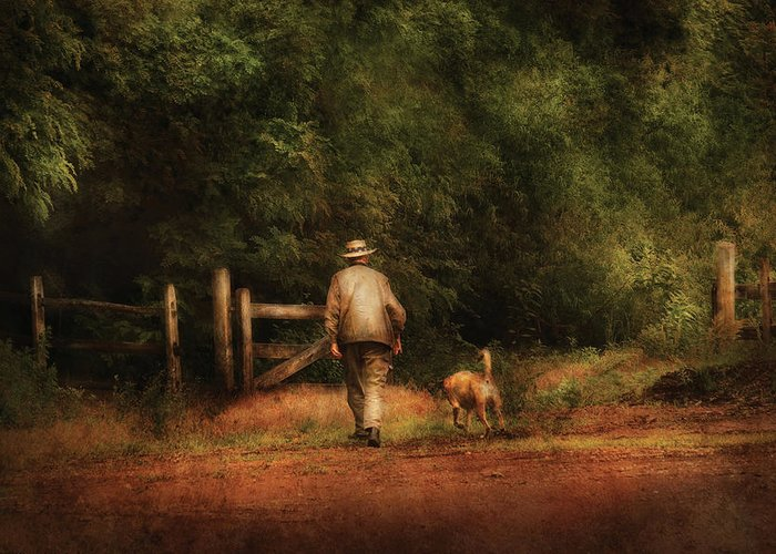 Savad Greeting Card featuring the photograph Animal - Dog - A Man And His Best Friend by Mike Savad