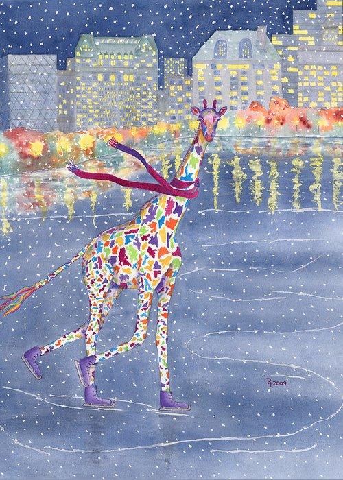 Giraffe Greeting Card featuring the painting Annabelle On Ice by Rhonda Leonard