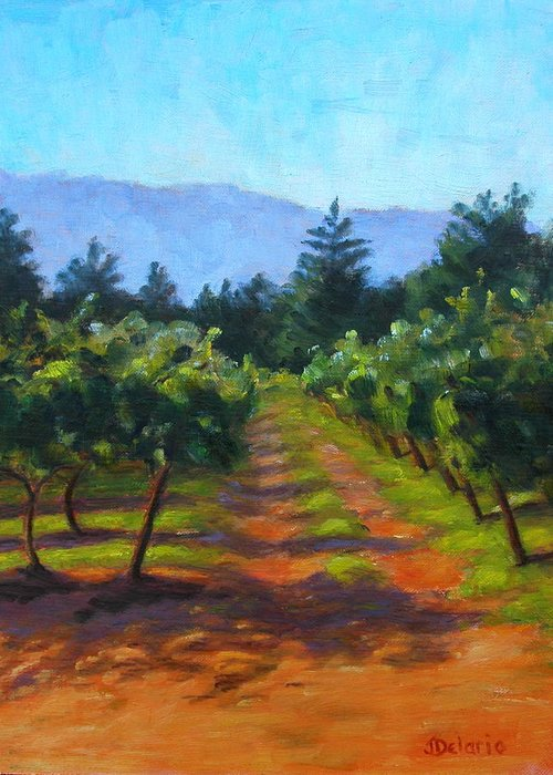 Pleinair Landscape Of A Vineyard In Santa Rosa Greeting Card featuring the painting Annadel Shadows by Joyce Delario