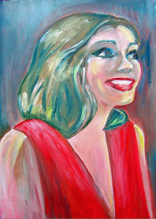 Anne Hathaway Greeting Card featuring the painting Anne Hathaway In Interview by Patricia Taylor