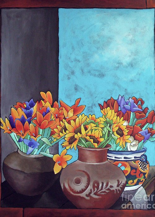 Flowers Greeting Card featuring the painting Annie's Flowers by Yvonne Gillengerten