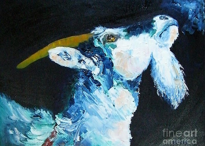 Goats Greeting Card featuring the painting Annies Prayer by Susan A Becker