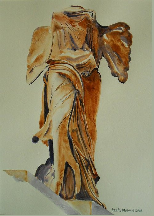 France Greeting Card featuring the painting Another Perspective Of The Winged Lady Of Samothrace by Geeta Biswas