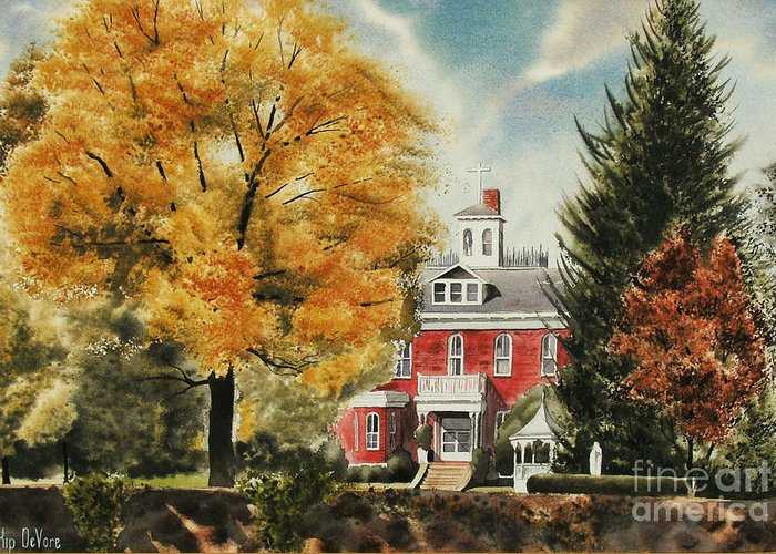 Antebellum Autumn Ironton Missouri Greeting Card featuring the painting Antebellum Autumn Ironton Missouri by Kip DeVore