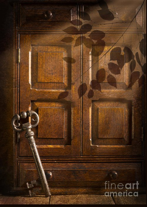 Antique Greeting Card featuring the photograph Antique Cabinet by Amanda Elwell