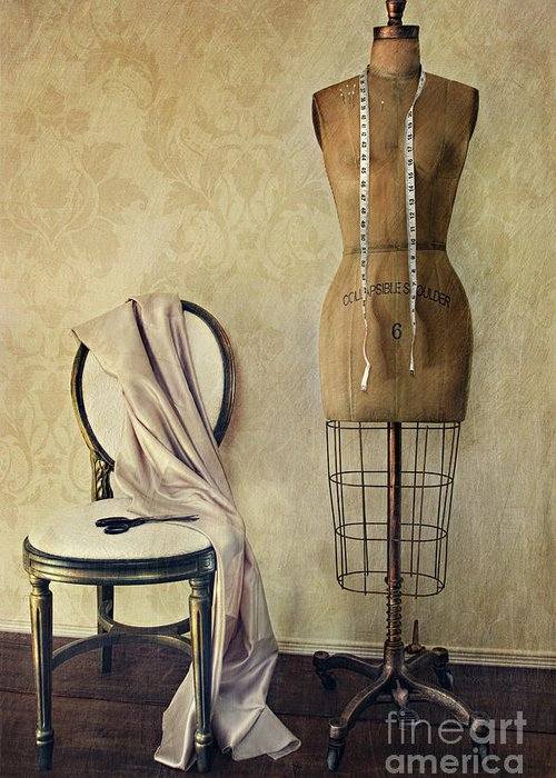 Accessory Greeting Card featuring the photograph Antique Dress Form And Chair With Vintage Feeling by Sandra Cunningham