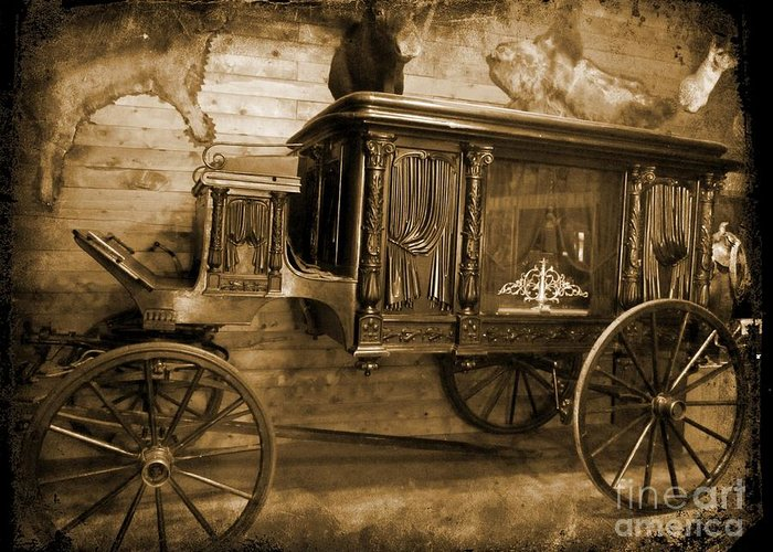 Hearse Images Greeting Card featuring the photograph Antique Hearse As Tintype by Crystal Loppie