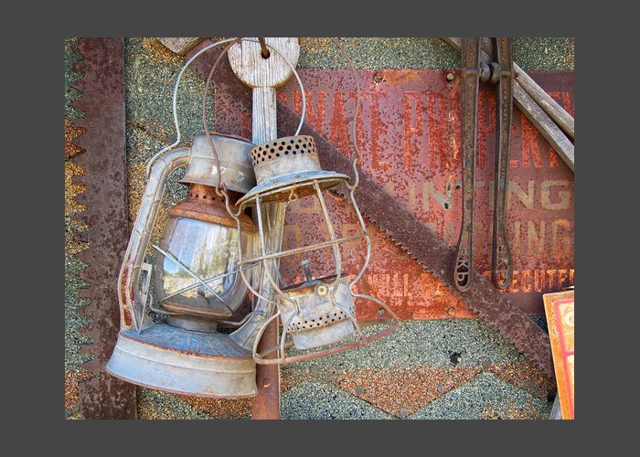 Still Life Greeting Card featuring the photograph Antique Kerosene Lamps by Mary Lee Dereske