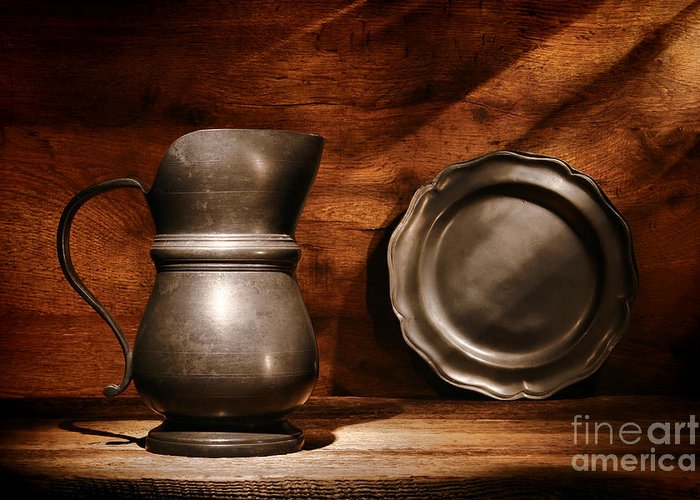 Pewter Greeting Card featuring the photograph Antique Pewter Pitcher And Plate by Olivier Le Queinec