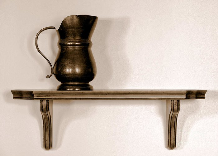 Pitcher Greeting Card featuring the photograph Antique Pewter Pitcher On Old Wood Shelf by Olivier Le Queinec