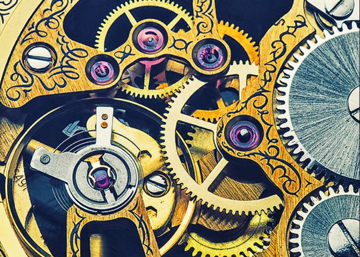 Time Greeting Card featuring the photograph Antique Pocket Watch Gears by Garry Gay