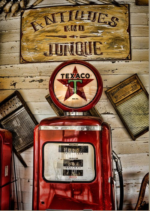 Gas Pump Greeting Card featuring the photograph Antiques And Junque by Heather Applegate