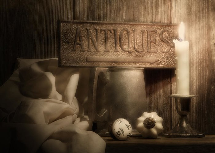 Antique Greeting Card featuring the photograph Antiques Still Life by Tom Mc Nemar