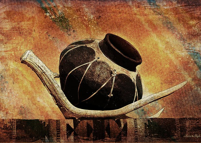 Antler Greeting Card featuring the photograph Antler And Olla by Karen Slagle