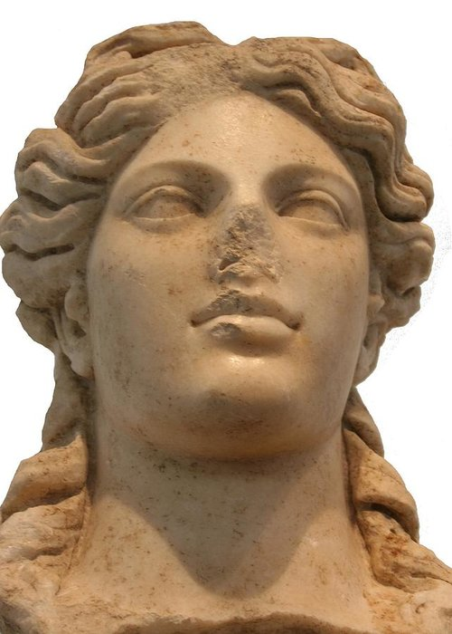 Aphrodisias Greeting Card featuring the sculpture Aphrodite The Goddess Of Love And Beauty by Tracey Harrington-Simpson